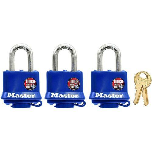 Master Lock Covered Laminated Padlock Set with Keys - 312TRI